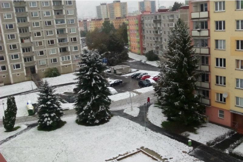 První sníh letošního podzimu. Foto: Alena Sotolářová