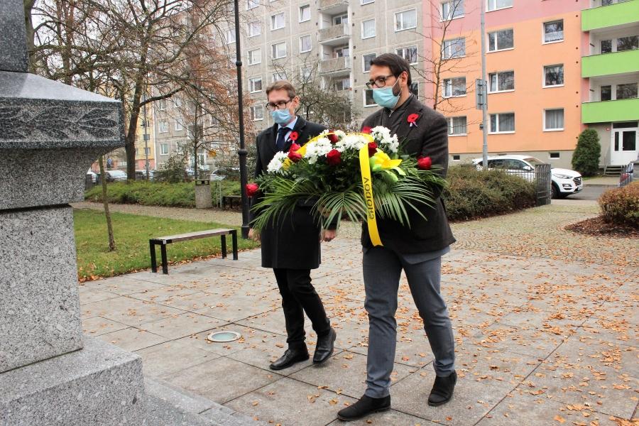 Patrik Pizinger a Luděk Soukup při vzpomínce na veterány. Foto: Martin Polák