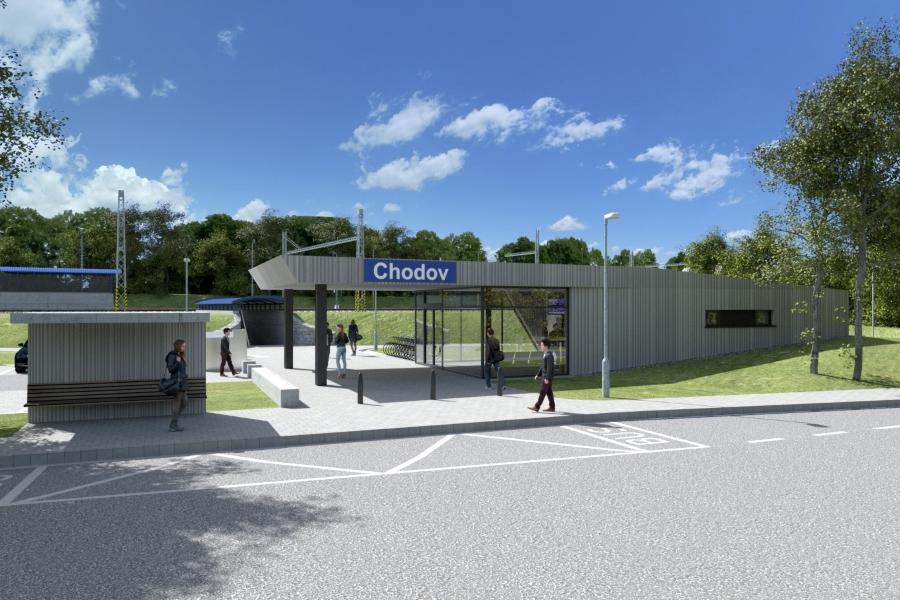 Vizualizace nové nádražní budovy.