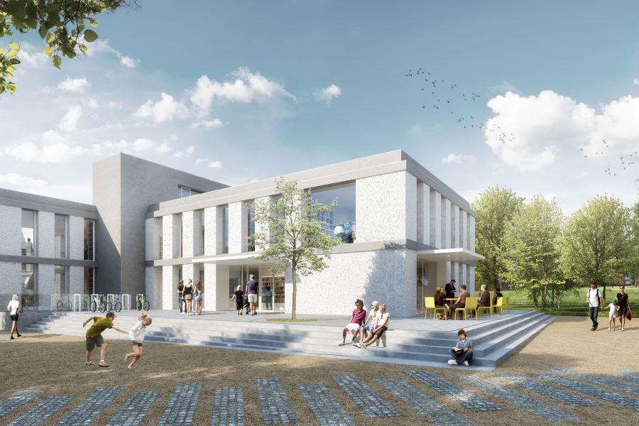 Budoucí podoba nové knihovny. Vizualizace Ateliér Kopecký